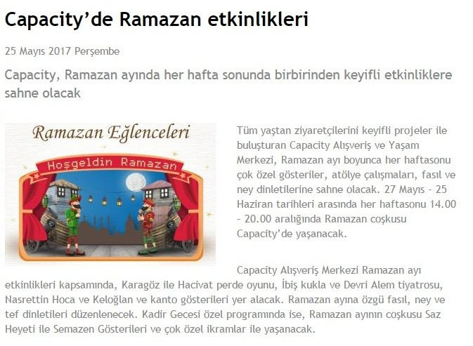 Capacity'de Ramazan Etkinlikleri (perakende.org)