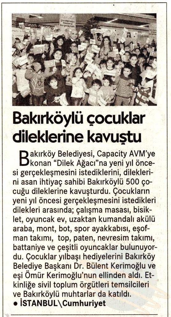 Bakırköylü Çocuklar Dileklerine Kavuştu (Cumhuriyet)